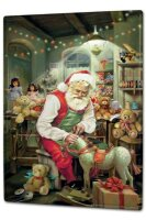 Tin Sign XXL Christmas Santa Claus Workshop Rocking Horse