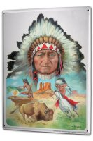 Tin Sign XXL USA Native Indian chief Bison smoke signals