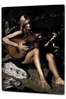 Tin Sign XXL Sexy Fun Ravtive Model naked guitar