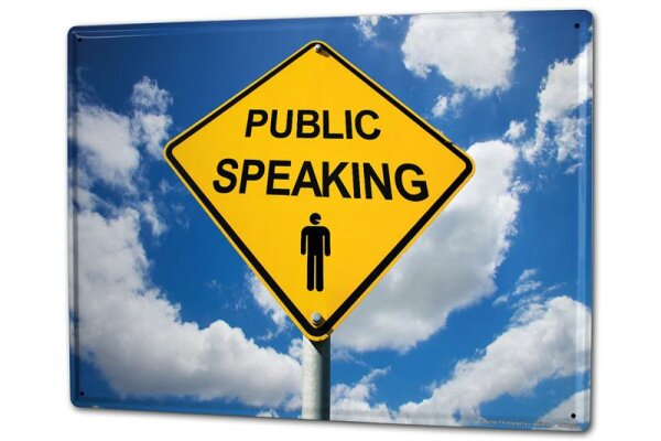 Tin Sign XXL Warning Labels Prohibition Public Speaking