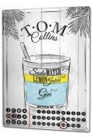 Perpetual Calendar Bar Party Tom Collins Tin Metal Magnetic