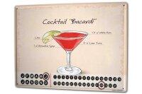 Perpetual Calendar Bar Party Cocktail recipe Tin Metal...