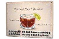 Perpetual Calendar Bar Party Cocktail black russian Tin...