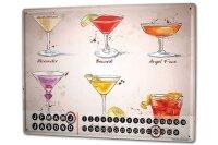 Perpetual Calendar Nostalgic Alcohol Retro Cocktail selection Tin Metal Magnetic