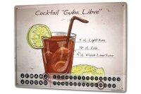 Perpetual Calendar Bar Party Cocktail Cuba Libre Tin...