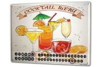 Perpetual Calendar Bar Party Cocktail menu Tin Metal...
