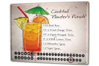 Perpetual Calendar Bar Party Cocktail planters punch Tin...
