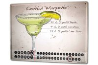 Perpetual Calendar Bar Party Margarita Tin Metal Magnetic