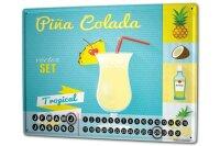 Perpetual Calendar Bar Party Pina colada Tin Metal Magnetic