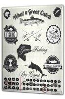 Perpetual Calendar Coastal Marine Great fishing Tin Metal...