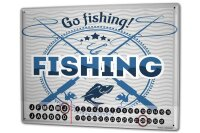 Perpetual Calendar Angler Home Go fishing Tin Metal...