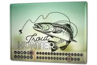 Perpetual Calendar Angler Home Trout Hunter Tin Metal...