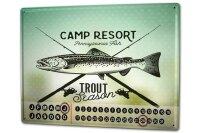 Perpetual Calendar Coastal Marine Trout Tin Metal Magnetic