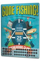 Perpetual Calendar Angler Home Fishing Club Tin Metal...