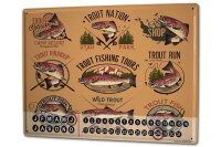 Perpetual Calendar Angler Home Trout Tin Metal Magnetic...