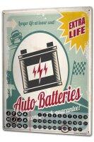 Perpetual Calendar Vintage Car Car battery Longlife Tin...