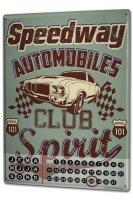 Perpetual Calendar Vintage Car Car Club Tin Metal Magnetic