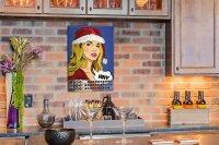 Perpetual Calendar Fun Kitchen Santa Claus Lady Tin Metal...