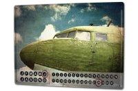Perpetual Calendar Retro Aircraft cockpit Tin Metal Magnetic