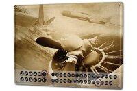 Perpetual Calendar Retro Old aircraft propeller Tin Metal...