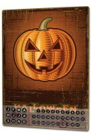 Perpetual Calendar Retro Halloween Pumpkin Tin Metal...