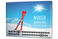 Perpetual Calendar Nostalgic Winter sports Tin Metal...