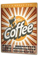 Perpetual Calendar Coffee Cafe Bar Coffee break Tin Metal...