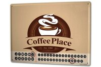 Perpetual Calendar Coffee Cafe Bar Coffee Place Tin Metal...