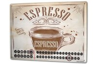Perpetual Calendar Restaurant Kitchens Espresso Tin Metal...