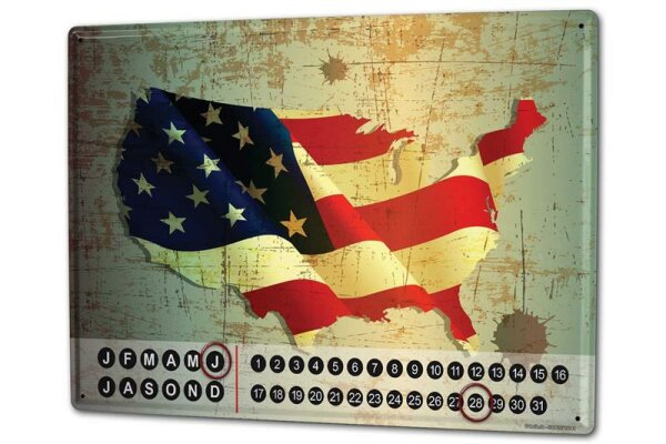 Perpetual Calendar Holiday Travel Agency Flag United States Tin Metal Magnetic