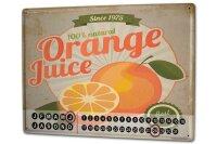 Perpetual Calendar Kitchen Orange juice Tin Metal Magnetic
