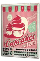 Perpetual Calendar Kitchen Cupcakes Tin Metal Magnetic
