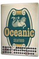 Perpetual Calendar Kitchen Oceanic Seafood Tin Metal...