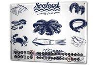 Perpetual Calendar Kitchen Seafood Tin Metal Magnetic