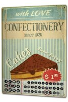 Perpetual Calendar Kitchen Confectionery Tin Metal Magnetic