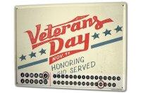 Perpetual Calendar Nostalgic Veteran day Tin Metal Magnetic