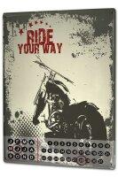 Perpetual Calendar Motorcycle Garage Motorcycle ride Tin...