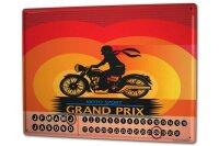 Perpetual Calendar Motorcycle Garage Grand Prix Tin Metal...