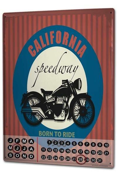 Perpetual Calendar Garage California Speedway Tin Metal Magnetic