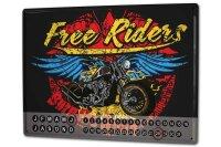 Perpetual Calendar Motorcycle Garage Free riders Tin...