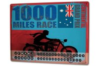 Perpetual Calendar Motorcycle Garage 1000 miles race Tin...