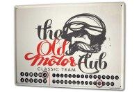 Perpetual Calendar Garage Motorclub Tin Metal Magnetic