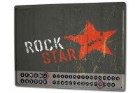 Perpetual Calendar Kitchen Rock Star Tin Metal Magnetic