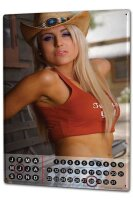 Perpetual Calendar Sexy Girl Model cowboy hat Tin Metal...