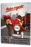 Perpetual Calendar Sexy Fun rative Auto repair Tin Metal...