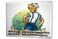 Perpetual Calendar Oceans Sailor steering wheel Tin Metal...