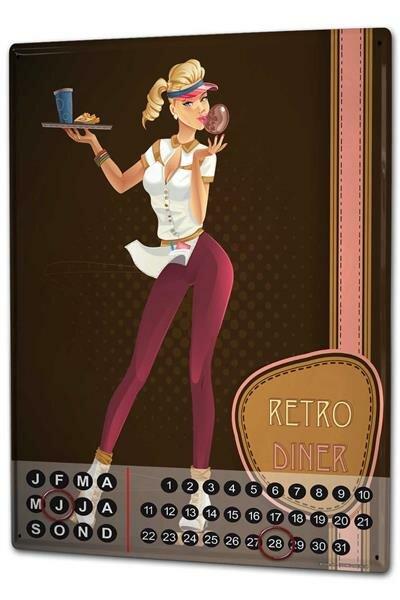 Perpetual Calendar Fun rative Retro Diner Tin Metal Magnetic