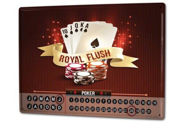 Dauer Wand Kalender Nostalgie Poker Metall Magnet