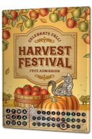 Perpetual Calendar Fun rative Harvest Festival Tin Metal...