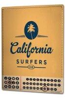 Perpetual Calendar Fun California Surfers Tin Metal Magnetic